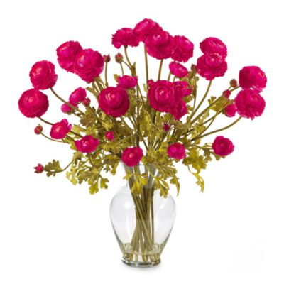 Nearly Natural Silk Ranunculus Liquid Illusion Flower Arrangement in Pink Beauty