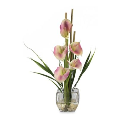 Nearly Natural Silk Calla Lilly Liquid Illusion Arrangement in Pink