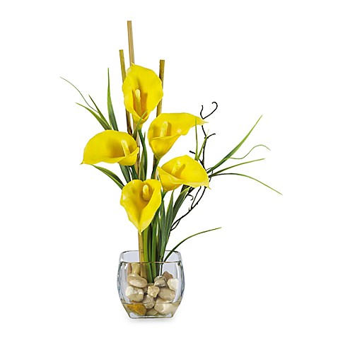 Nearly Natural Silk Calla Lilly Liquid Illusion Arrangement in Yellow