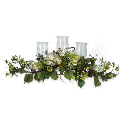 Nearly Natural Silk Hydrangea Triple Candelabrum Centerpiece in Cream