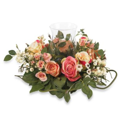 Nearly Natural Silk Rose Candelabrum Flower Arrangement