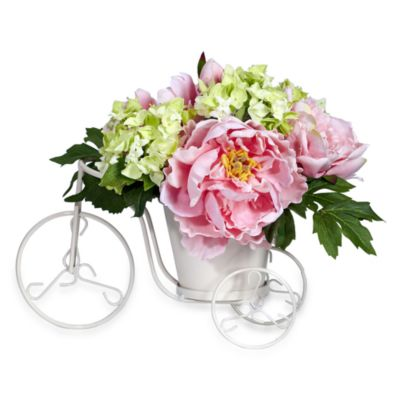 Nearly Natural Silk Peony & Hydrangea Tricycle Flower Arrangement