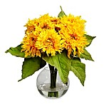 Nearly Natural 12-Inch Silk Golden Sunflower Arrangement w/Vase