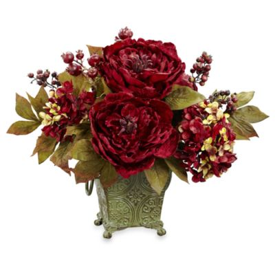 Nearly Natural Small Silk Peony & Hydrangea Flower Arrangement