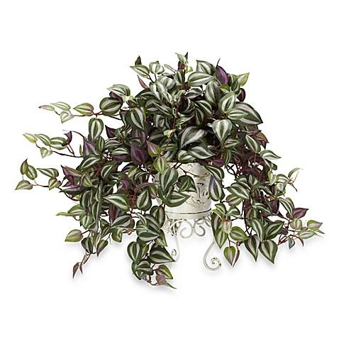 Nearly Natural Silk Wandering Jew Plant w/Metal Planter