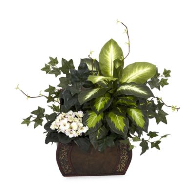 Nearly Natural Silk African Violet, Dieffenbachia and Ivy with Chest