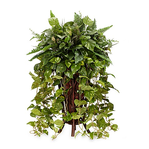 Nearly Natural Vining Silk Mixed Greens Plant w/Decorative Stand