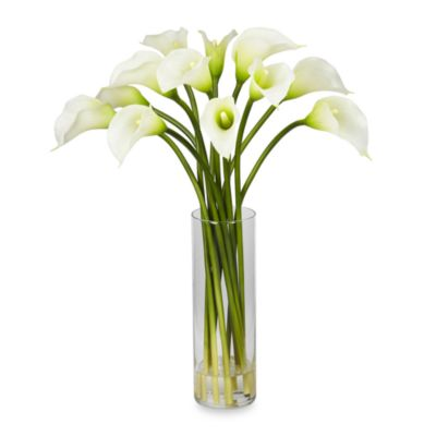 Nearly Natural Mini Silk Calla Lily Flower Arrangement in Cream