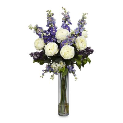 Nearly Natural Silk Rose Delphinium and Lilac Flower Arrangement w/Vase in Purple