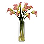 Nearly Natural Mini Silk Calla Lily Flower Arrangement in Pink