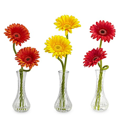 Nearly Natural Red/Orange/Yellow Silk Gerber Daisy W/Bud Vase - Set of 3
