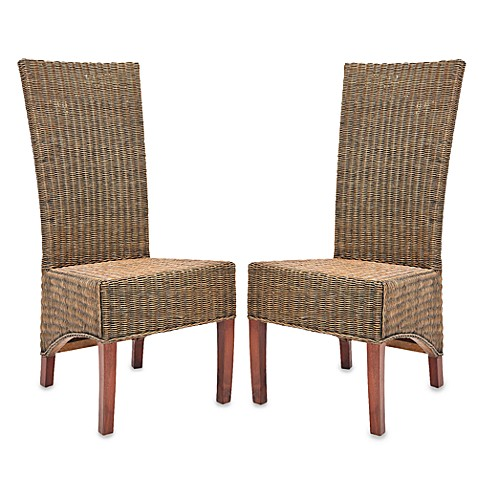 Safavieh Siesta Side Chairs in Honey Black Wicker (Set of 2)