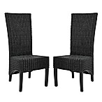 Safavieh Siesta Side Chairs in Black Wicker (Set of 2)