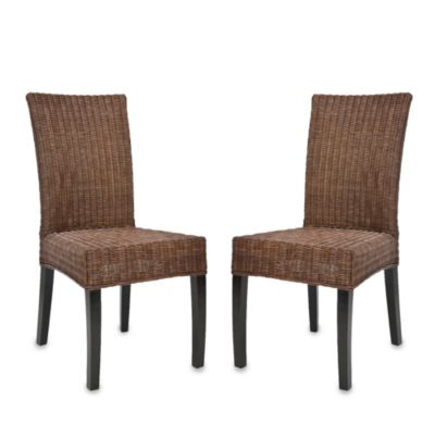 Safavieh Greyton Side Chairs in Dark Brown Wicker (Set of 2)