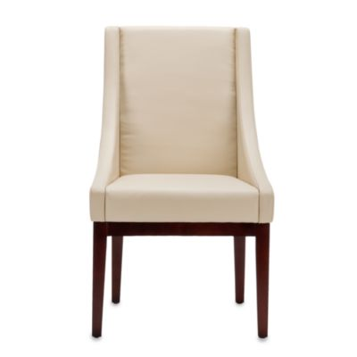 Safavieh Creme Leather Sloping Armchair