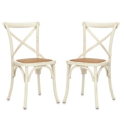 Safavieh Franklin X Back Chairs in Antique White (Set of 2)