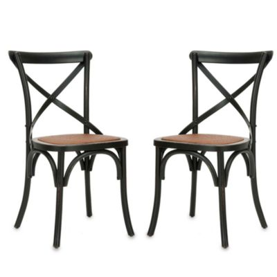 Safavieh Franklin X Back Chairs in Antique Black (Set of 2)
