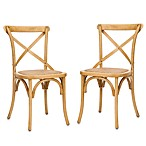 Safavieh Franklin X Back Chairs in Oak (Set of 2)
