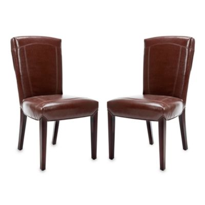 Safavieh Ken Side Chair - Brown Leather (Set of 2)