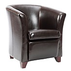 Safavieh Lorraine Tub Chair in Brown Leather