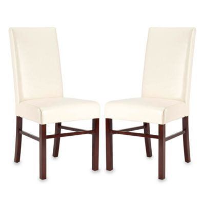 Safavieh Side Chair in Cream Leather (Set of 2)