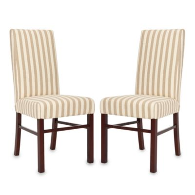 Safavieh Side Chair in Taupe/White Stripe(Set of 2)