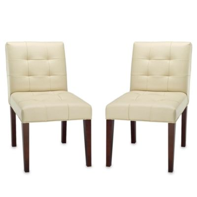 Safavieh Gavin Tufted Leather Side Chair - Cream (Set of 2)