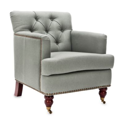 Safavieh Colin Tufted Club Chair in Grey-Green Linen