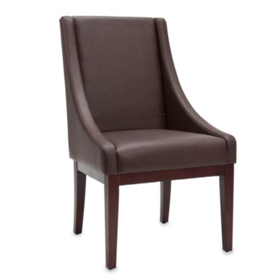 Safavieh Sloping Arm Chair in Brown Leather