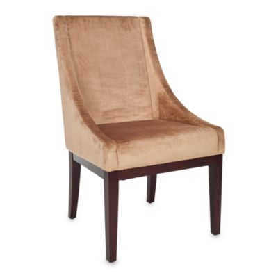 Safavieh Velvet Sloping Arm Chair in Dark Champagne