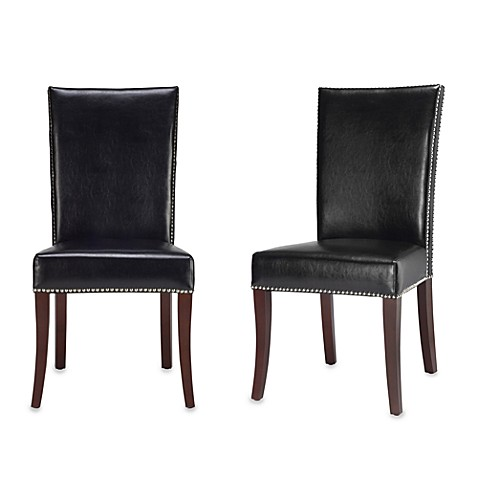 Safavieh Brewster Side Chairs in Black Leather (Set of 2)