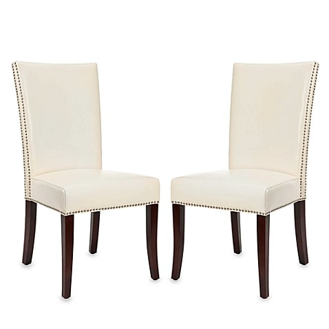 Safavieh Brewster Leather Side Chairs in Cream (Set of 2)