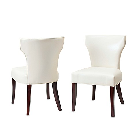 Safavieh Ryan Leather Side Chairs in White (Set of 2)