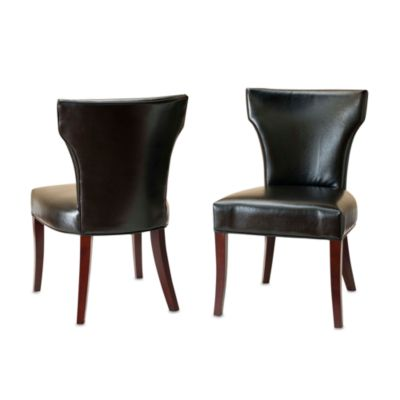 Safavieh Ryan Leather Side Chairs in Black (Set of 2)