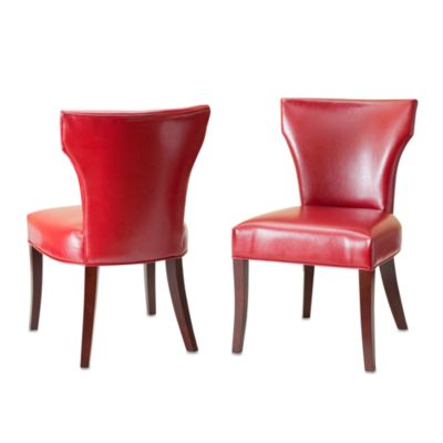 Safavieh Ryan Leather Side Chairs in Red (Set of 2)
