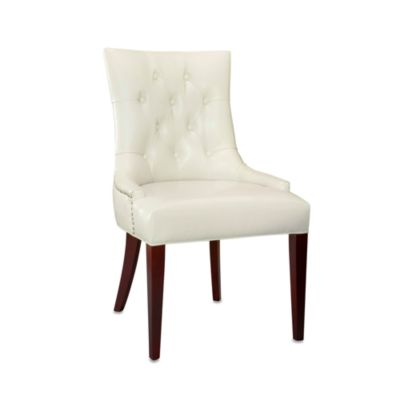 Safavieh Amanda Leather Side Chair in Cream
