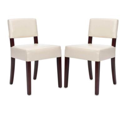 Safavieh Alden Leather Side Chair in Cream (Set of 2)