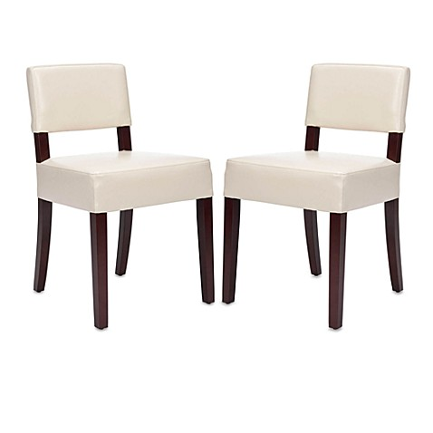 Safavieh Alden Leather Side Chair in Cream (Set of 2)