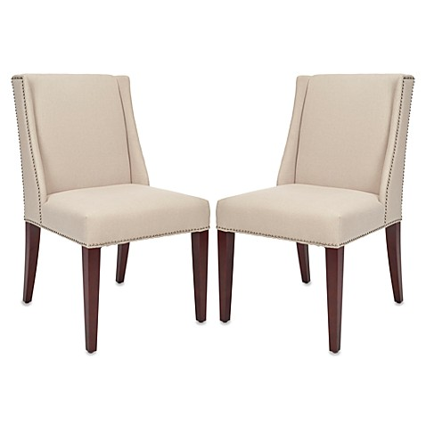 Safavieh Lauren Side Chair in Beige Linen (Set of 2)