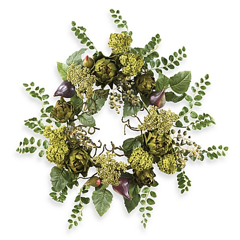Nearly Natural 20-Inch Artichoke Floral Wreath