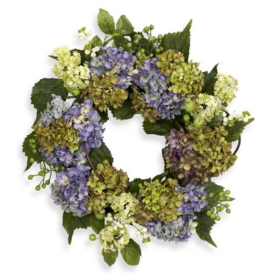 Nearly Natural 16-Inch Hydrangea Wreath
