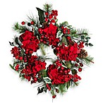 Nearly Natural 22-Inch Hydrangea Holiday Wreath