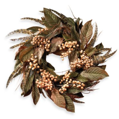 Nearly Natural 24-Inch Feather and Berry Wreath