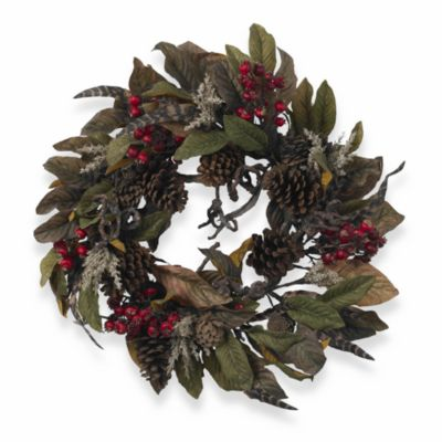"""Nearly Natural 24"""" Pinecone, Berry & Feather Wreath"""