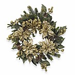 Nearly Natural 24-Inch Golden Poinsettia Wreath