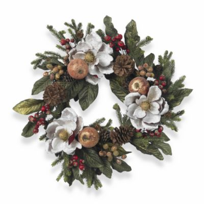 """Nearly Natural 24"""" Magnolia, Pinecone and Berry Wreath"""