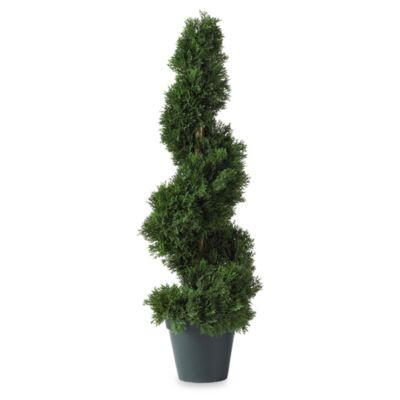 Nearly Natural 2-Foot Spiral Cedar Silk Topiary