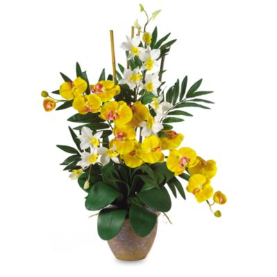 Nearly Natural Double Phalaenopsis & Dendrobium Silk Flower Arrangement in Yellow & Cream