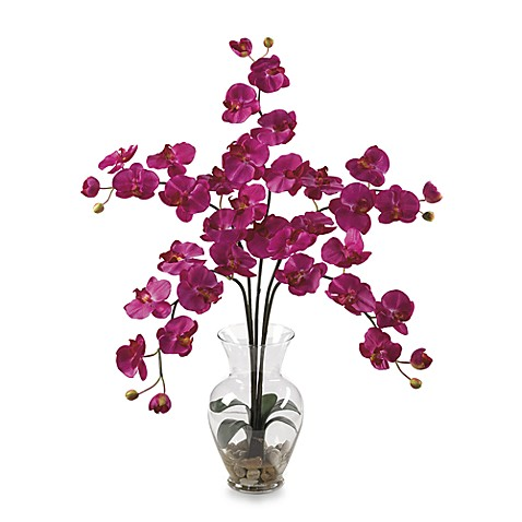 Nearly Natural Phalaenopsis Liquid Illusion Silk Flower Arrangement in Beauty