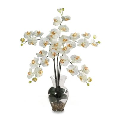 Nearly Natural Phalaenopsis Liquid Illusion Silk Flower Arrangement in Cream